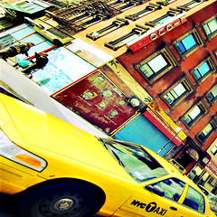 on the corner (fotobananas) Tags: street nyc newyork yellow corner square mural harlem manhattan cab taxi sunday malcolmx sliders milesdavis hss diningheritage s95 fotobananas sliderssunday
