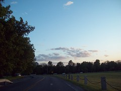 Sunset Drive (another_newbie) Tags: road blue trees sunset summer sky cloud tree fall car clouds drive driving bluesky winding windingroad carsfence picsforpainting