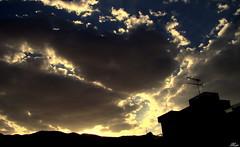 My Cloudy Sky (Mari Rasti) Tags: sunset sky cloud sunlight mountain building love colors dark sad iran cloudy shiraz antenna sonyh50 marirasti