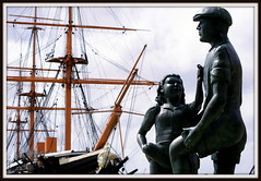 The Mudlarks (The Old Brit) Tags: heritage ships statues hampshire maritime portsmouth nautical naval masts sculptures warship royalnavy hmswarrior michaelpeacock royalnavaldockyard thehard mudlarking themudlarks ironhulledship