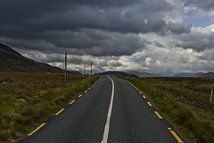 Endless (thillege.com) Tags: road street travel ireland sky storm colour galway tarmac clouds canon eos dof depthoffield powerlines 600d canonef28mm18 thillege timhillege