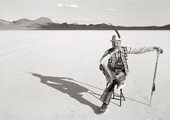 Eggchairsteve, Black Rock Desert, Nevada (austin granger) Tags: film desert nevada feather playa burningman staff eggs largeformat striped blackrockdesert deardorff eggchairsteve eggchtropolis austingranger