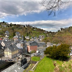 The charm of Monschau (Bn) Tags: park street houses castle nature river germany walking geotagged town spring topf50 scenery day cloudy north ruin charm eifel historic ruine valley hillside quaint picturesque venn haller fortress narrow monschau duitsland unchanged hedges timbered roer rur hohes rhinewestphalia 50faves noordrijnwestfalen geo:lon=6244043 geo:lat=50553634