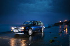 Blue (AndWhyNot) Tags: blue reflection wet car rain nikon flash hour bmw touring e30 cls 9957