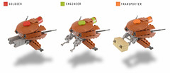 Drone Variants (Titolian) Tags: orange dark soldier gun lego space military chinese future scifi engineer transporter drone