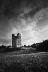 Orford Castle in B&W (Matthew Dartford) Tags: uk sunset sky castle grass clouds sunrise landscape suffolk britain hills keep magical emotive atmospheric goldenhour orford ruleofthirds horison soffolk