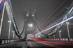Tower Bridge during the fog (oosokoya) Tags: fog towerbridge nighttime lighttrail