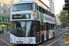 New bus for London , disguised as a Pizza ! (AndrewHA's) Tags: travel bus london pizza route advert express wright archway 95 euston lt overall 395 tfl 1095 metroline wrightbus ltz nbfl newbusforlondon