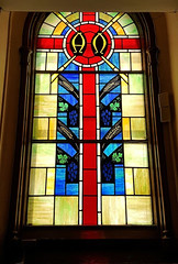 vestibule alpha-omega window - Old Stone Church - Cleveland (Tim Evanson) Tags: church cleveland clevelandohio publicsquare presbyterianchurch nationalregisterofhistoricplaces oldstonechurch firstpresbyterianoldstonechurch
