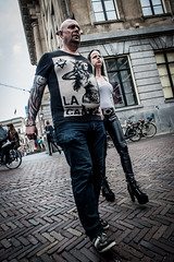 Tattoos and heels @ Utrecht (PaulHoo) Tags: city people urban man holland men netherlands fashion shirt tattoo spring nikon utrecht expression candid streetphotography heels rough lightroom 2016 streetcandid d700