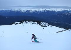 Telemarking down Peak to Creek (Ruth and Dave) Tags: whistler skiing skiresort kirsten skier slope telemarking whistlerblackcomb telemarker peaktocreek