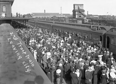 91st Battalion Boarding Troop Train, June 25, 1916 (Elgin County Archives) Tags: libraryandarchivescanada elgincountyarchives stthomasontario 91stbattalion canadianexpeditionaryforce firstworldwar worldwari