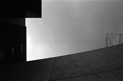 Origami Sky (klolam) Tags: blackandwhite building film monochrome 35mm hongkong lomography university pentax space analogue cuhk pentaxmesuper chineseuniversity
