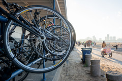 Reserved Parking (Andy Marfia) Tags: summer sky chicago beach water bicycle wheel iso100 sand parking 8 lakemichigan uptown icecream cart railing beachhouse lakefront montrosebeach 160sec d7100 1685mm