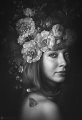 Flora (Anna Atlas) Tags: flowers portrait blackandwhite girl monochrome beauty amazing artwork flora fineart photoart bnw conceptualphotography conceptualportrait