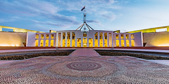 Parliament House (dean.white) Tags: australia au canberra capitalhill australiancapitalterritory act parliamenthouse parliamentofaustralia government forecourt building architecture aboriginalart granite mosaic sky clouds sunset artwork canoneos6d canonef1635mmf4lisusm