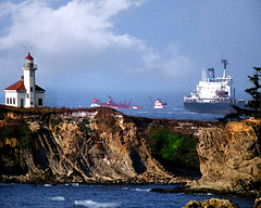 Arago Lighthouse, tugboat, and ship (Photographer Paul Peck Strength in Perspective) Tags: lighthouse oregon