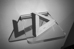 20160623_F0001: The impossible reality (wfxue) Tags: shadow blackandwhite bw triangle geometry object illusion mathematics escher opticalillusion eschermuseum penrosetriangle escherinhetpaleis