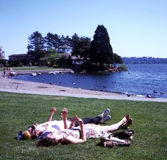 Day 113/365 - Spring in Seattle (Great Beyond) Tags: woman man male tlr beach water grass female mediumformat couple ground slide slidefilm 120film squareformat april fujifilm 365 slides e6 twinlensreflex 80mm 2016 fujiprovia100f bluedot fujichromeprovia100f mamiyaflex mamiyasekor project365 colorreversal mamiyac330professional 66tlr april2016