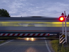 al passaggio a livello - at the level crossing (ma.ri_na) Tags: marina lights semaforo luci rosso treno passaggioalivello mygearandme canong12 ringexcellence blinkagain