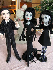 They're creepy and they're spooky.... (lizretros) Tags: vampire frankie vampira repaint reroot retros morticiaaddams lizretros monsterhigh crystalon