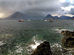 Storm over the Cuillins,(Canon G1X) (47mki) Tags: sea sky cloud seascape storm mountains skye canon landscape coast scotland boat isleofskye highland loch seashore cuillins trawler elgol