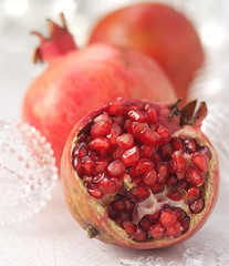 Pomegranate (BoothsCountry) Tags: christmas portrait fruit pomegranate cloth alannewnham