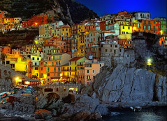 The village at dusk (PhotoArt Images) Tags: italy night lights village manarola hdr photoartimages