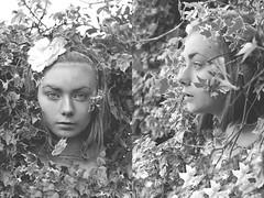 Secret garden; a passage in time (Jax Wilson) Tags: blackandwhite woman selfportrait girl lady self vintage garden idea leaf secret magic fairy timetravel concept inspire mothernature secretgarden mythical