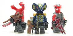 Snake Mercenary Group Shot (Silenced_pp7) Tags: lego prototype custom snakes proto minifigure m110 snakesonaplane g36 spacepolice brickarms toywiz mercenarys ninjago