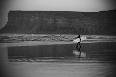 Last of the surfers (MattyLawson) Tags: uk summer england white black beach water sport canon coast surf surfer young 7d coastalphotography