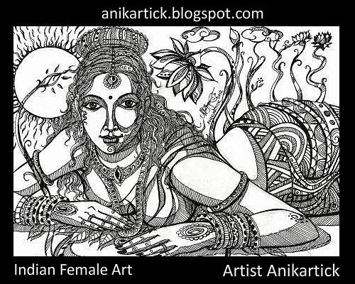 Indian Woman Art - Pen drawing 020 - Artist Anikartick,Chennai,India