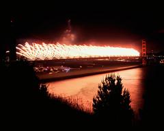 Fireworks - 75th Anniversary of the Golden Gate Bridge (Rodney A. Johnson) Tags: sanfrancisco bridge 120 6x6 zeiss mediumformat 50mm golden gate fireworks anniversary battery landmark hasselblad velvia goldengate fujichrome wagner rvp100f 75th marinheadlands distagon 100f 500cm 75thanniversaryofthegoldengatebridge