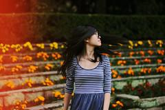 (Amanda Mabel) Tags: flowers winter portrait nature girl fashion vintage neck dress fashionphotography stripes lightleak relaxed hairflip collarbones flowerbeds circleshades amandamabel