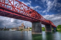 Broadway Bridge (Thad Roan - Bridgepix) Tags: bridge blue red sky water clouds oregon port river portland harbor ship broadway lookup hdr willamette facebook d800 201205 bridgepix