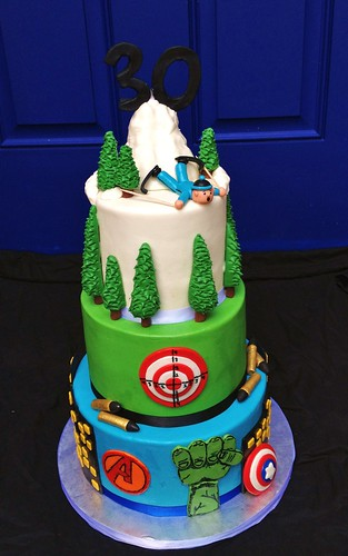 30th Birthday Cake: Favorite Things (Skiing, Gun Range & Avengers)