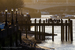 Old pier at sunset during low tide (Jon Bagge) Tags: sunset england london thames pier lowtide oxotower blackfriarsbridge waterloobridge canoneos60d ringexcellence tamronsp70200f28divcusd jonbagge