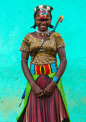 Portrait of a smiling bana woman with clips in the hair, Omo valley, Key afer, Ethiopia (Eric Lafforgue) Tags: africa portrait people woman haircut color cute girl smiling fashion vertical umbrella hair outdoors photography necklace belt women day african decoration culture clips skirt tribal leopard teenager omovalley ethiopia cheerful tribe hairstyle bana cultural oneperson braid barrette braided adornment hornofafrica ethiopian banna eastafrica abyssinia greenbackground traditionalclothing lookingatcamera coloredbackground oneyoungwomanonly waistup keyafer 1people onegirlonly traditionandmodernity beadednecklaces modernityandtradition ethio162127