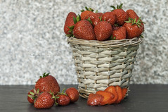 First fruits of spring. (johanna151) Tags: red fruit juicy strawberry basket ripe