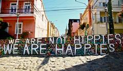 We are not hippies, we are happies (LEJZA) Tags: chile street streetart hot hippies calle colours shine mosaico colores verano hippie felicidad letrero happies valpo calor mensaje happi weare valaparaiso frase cerroalegre