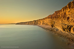 Nash Point (sandrakepkowska) Tags: longexposure blue sunset sky cliff sun water wales bristol point landscape spring south cymru clear glamorgan april nash hightide chanell