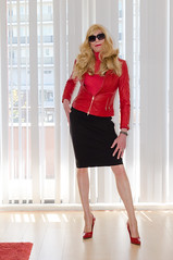 Cool! (sabine57) Tags: drag tv sweater pumps highheels cd tights skirt crossdressing transgender jacket tranny transvestite jumper pantyhose crossdresser crossdress redleatherjacket travestie transvestism pencilskirt