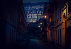 Mansion (klepher) Tags: road street blue light france castle yellow architecture night mood alone calm 7d mansion rue nuit 18200 aix peacefull
