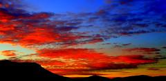 The Painted Sky (elliott.lani) Tags: blue sunset red orange mountain color colour nature beautiful silhouette yellow clouds sunrise landscape outdoors gold skies bright vibrant mount colourful lani atmospheric allrightsreserved patterned naturephotography mountwellington tasmaniansunset scenictasmania elliottlani lanielliott tasmanianskies tasmaniansky