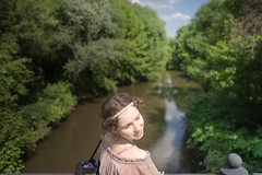 a view... (f_lynx) Tags: bridge color green girl face reflections river hair bag fun shadows dress russia moscow marta masha 2x3  sonya7 mariaatroshenko sonyfe282