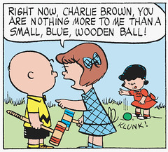 You are nothing more to me than a small, blue, wooden ball! (Tom Simpson) Tags: illustration vintage comics peanuts 1950s charliebrown charlesschulz croquet 1953 charlesmschulz