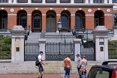 Bulfinch Entrance (oxfordblues84) Tags: city light people woman man building men boston architecture stairs women gate arch massachusetts wroughtiron steps arches tourist tourists capitol beaconhill brickbuilding capitolbuilding bostonmassachusetts massachusettsstatehouse outdoorstairs charlesbulfinch 24beaconst bullfinchentrance
