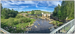 Halistenkoski 2016 (ViTaRu) Tags: bridge blue trees sky panorama green nature water colors mobile clouds suomi finland river landscape rocks colorful stream turku dam wideangle fi iphone aurajoki 6s varsinaissuomi southwestfinland