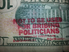 Defaced US 10 Dollar Bill Not To Be Used For Bribing Politicians (A.Currell) Tags: for us bill 10 used politicians dollar be to defaced bribing not