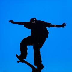 skate (eanwe) Tags: blue metal person sign skateboard vehicle